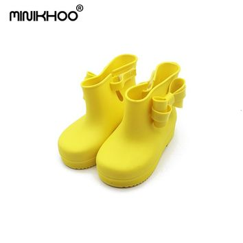 Mini Melissa 4 Color Candy Color Rain Boots Girls Water Shoes 2018 New Toddler Rain Boots Melissa Jelly Waterproof 14cm-18cm