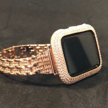 Rhinestone Apple Watch Band Rose Gold Womens Mens 38mm/40mm 42mm/44mmSeries 1 2 3 4  Crystals/Case Cover Watch CZ Bezel Lab Diamonds Bling