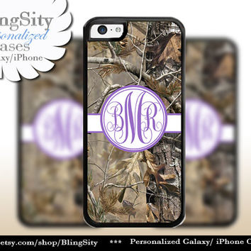 Camo Purple Monogram iPhone 5C 6 Plus Case iPhone 5s 4 case Ipod Realtree Personalized Country Inspired Girl