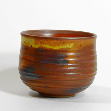 Brown and yellow stoneware tea bowl, chawan, yunomi, teacup, tea cup, small bowl, decorative bowl, father's day gift