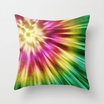 Abstract Green Tie Dye Throw Pillow by Phil Perkins