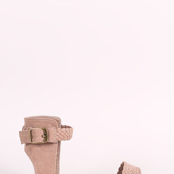 Bamboo Suede Braided Ankle Strap Flat Sandal