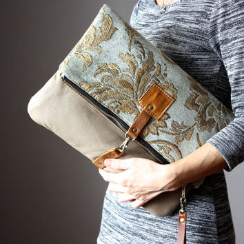 Taupe leather clutch, Tapestry Crossbody leather bag, Carpet Leather handbag, boho bag , foldover clutch, crossbody bag , neutral shades