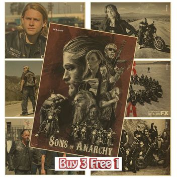 SONS OF ANARCHY  POSTER kraft paper Motorcycle vintage poster Art Wall Decor home bar deocr wall stickers