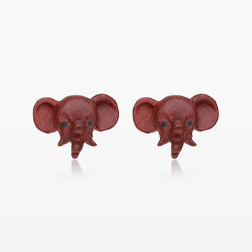 A Pair of Baby Elephant Handcarved Wood Earring Stud