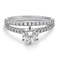 1.9CT Round Cut Russian Lab Diamond Solitaire Bridal Set Wedding Band Ring