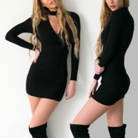 Sexy Womens Slim package Hip Long Sleeve  Dress With Choker