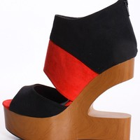 Black & Red Faux Suede Cutout Wedge with Wooden Heel