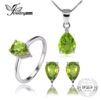Jewelrypalace Round 5ct Natural Gemstone Peridot Ring Earring Pendant Necklace Fine Jewelry Sets Pure 925 Sterling Silver