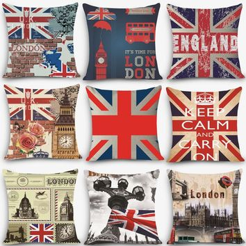 "Retro Euro style cheap cushions England london Print Decorative Cushion Throw Pillow 18"" Vintage Cotton Linen Square MYJ-B1"