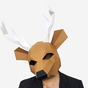 Make your own Deer Mask, Animal Head,Instant Pdf download, DIY  Paper Mask, 3D Polygon Masks, Printable Mask, DIY New Year Mask