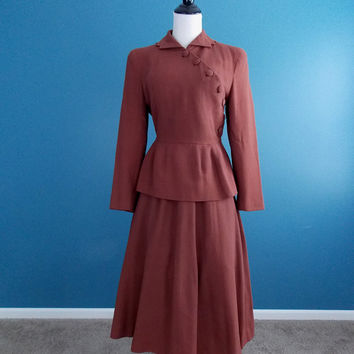 1950's Lilli Ann Cocoa Brown Dress Suit