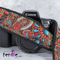 dSLR Camera Strap, Faux Beaded Southwestern,  Tribal, Camera Strap, Pocket, SLR, Native American Inspired, Camera Neck Strap, Canon, 209 ww