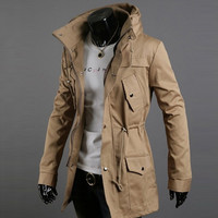 Men's Winter Fashion Zipper Long Sleeve Stand Collar Warm Slim Jacket