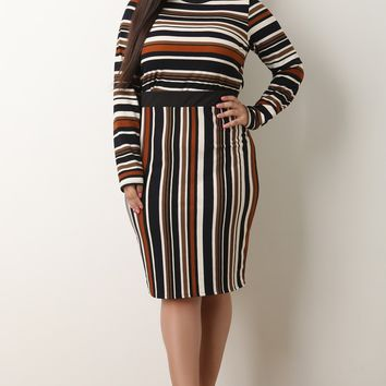 Multi Striped Crop Top With Midi Skirt Set