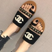 Chanel Trending Women Summer Belt Buckle Flat Flip Flops Sandals Slippers Shoe Black