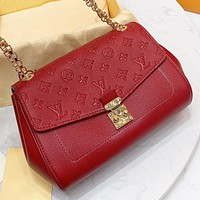 LV  Louis Vuitton New monogram leather chain shoulder bag crossbody bag Red