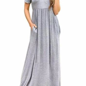 Women's Heather Gray Short Sleeve Casual Party Long Dresses Short Sleeve Ruched Waist Maxi Dress
