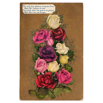 Vintage Rose Bouquet 1900s Floral Greeting Postcard Red White and Pink Roses Gold Background