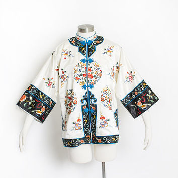 Vintage 1960s Embroidered jacket - Chinese Ivory Silk Floral Asian Robe - Medium