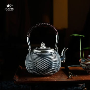 Sterling silver 999 silver Handmade teapot  Chinese Tea Set 1.15ML