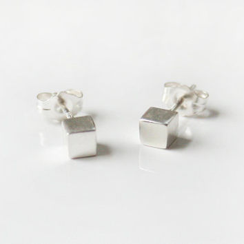 Small silver studs, silver cube earrings