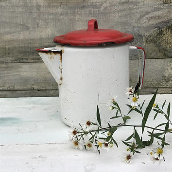 Enamel Coffee Pot, Red and White, Chippy, Farmhouse Decor, Red Enamelware, Enamel Vase, Cottage Decor, Chippy Enamelware, Worn Enamelware