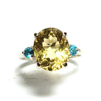 "Citrine, golden citrine, 3 stone ring, yellow blue ring, birthstone ring,  s 6 1/2  ""Pineapple Fizz"""