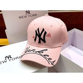 MLB 2019 new heart embroidery letters wild personality baseball cap pink