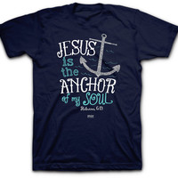 Unisex Tee Shirt Jesus in the Anchor To my Soul Christian Tee Women's Clothing