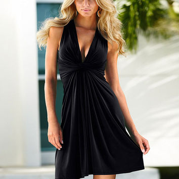 Sleeveless Stitching V-neck Knotted Summer Mni Dress