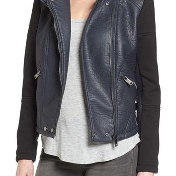 Bernardo Knit Sleeve Faux Leather Moto Jacket | Nordstrom