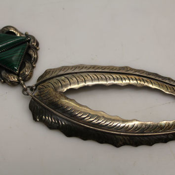 Vintage 925 Sterling Silver Old Dead Pawn Native American Feather & Malachite Triangle Design Necklace Pendant