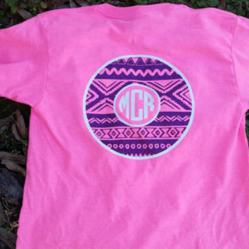 Aztec circle monogram shirt