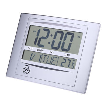 Calendar Alarm Clock With Digital LCD Thermometer Electronic Temperature Meter Walll Hanging&Desk Clock 8.6 x 1.29 x 6.8 inch