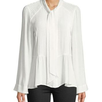 Lumie Pleated Tie-Neck Flare-Sleeve Blouse