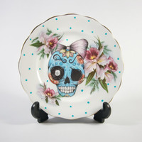 Vintage Butter Plate with Sugar Skull Illustration by Little Lala