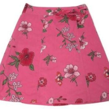 Womens Size 12 Tommy Hilfiger Spring Summer fuchsia Red green floral Skirt