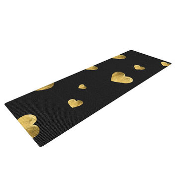 "Robin Dickinson ""Floating Hearts"" Gold Black Yoga Mat"