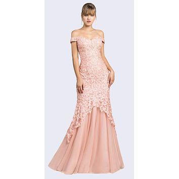 Off-Shoulder Mermaid Style Long Prom Dress Blush
