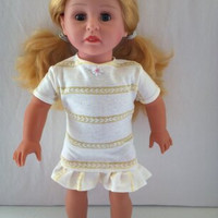 Handmade for American Girl Doll  White with Yellow Stripe by vw53