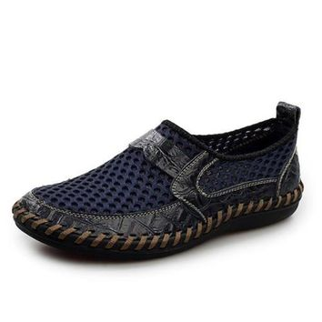 Breathable Genuine Leather Meshed Slip On Loafer Shoes