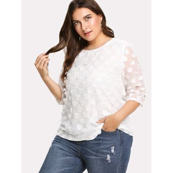 Womens Allover Embroidered Circle Applique Blouse - Plus Size