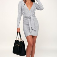 Ginger Heathered Navy Blue Tie-Front Sweater Dress