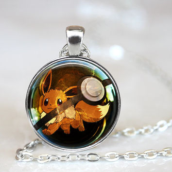 Eevee Pokemon Pokeball Eeveelution Necklace 1 Inch Round Cosplay Birthday Christmas Gift Collection Anime Geekery Gaming Handcrafted Pendant