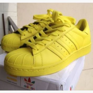 "Fashion ""Adidas"" Shell-toe Flats Sneakers Sport Shell-toe Pure color Shoes (7-Color) Yellow"