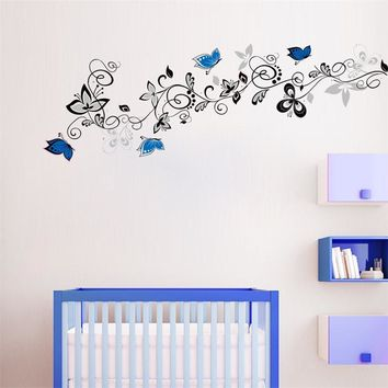 blue black butterfly flower home wedding decoration wall stickers living room TV wall decor sticker mural art free shipping