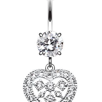 Sparkling Heart Shapes Belly Button Ring