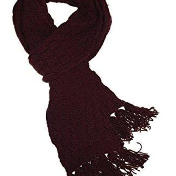 Dolce & Gabbana Woman's Men's Unisex Burgundy Red Wool Cable Knit Fringe Edge Italian Scarf