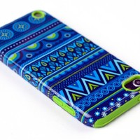 DandyCase 2in1 Hybrid High Impact Hard Blue Aztec Tribal Pattern + Lime Green Silicone Case Cover For Apple iPod Touch 5 (5th generation) + DandyCase Screen Cleaner